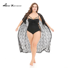 Lan Karswear Beach Bikini Long cardigan Floral Chiffon Solid Color Perspective Large Size Clothes Hollow out Black Half sleeve