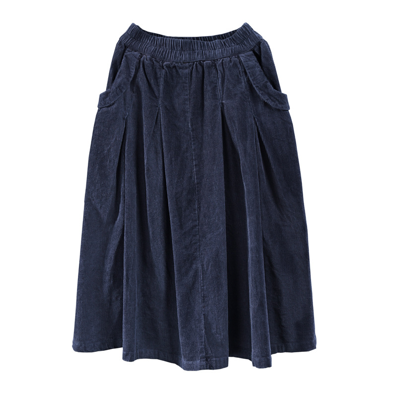 Image 5 - winter long skirts women  net color restoring ancient ways corduroy double ChaDou posed the a line skirt girl leisure female-in Skirts from Women's Clothing