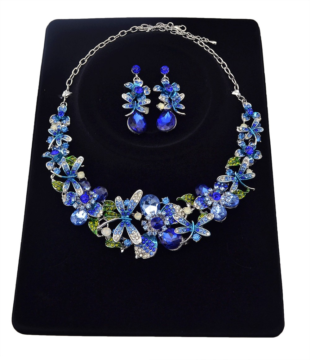 New Fashion Korean Style Silver Chain Colorful Charm Rhinestone Beautiful Flower Dragonfly Bib Statement Necklace And Earrings Set Women Jewelry, statement necklace - idealway_img1.cdn.tradevv.com_3