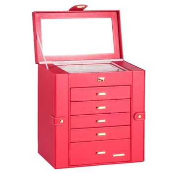 Extra Large Red Jewelry Box Mirror Jewellery Cabinet