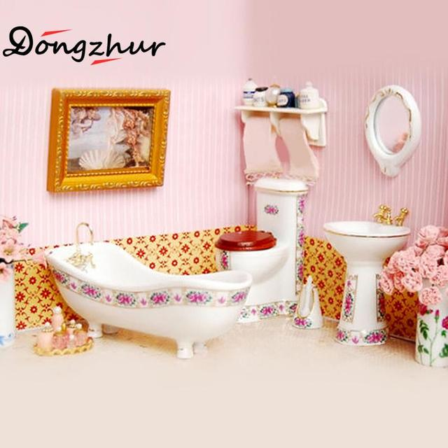 1pc Dollhouse Miniatures 112 Accessories Mini Bathroom Ceramic Bathtub Miniature Furniture Casa