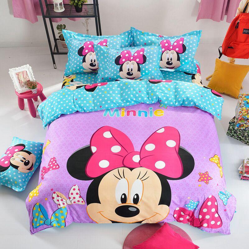 Постельное белье для девочек с рисунком Диснея Микки Минни Маус, пододеяльник, Набор наволочек, одеяло, покрывало, Детский Комплект постель