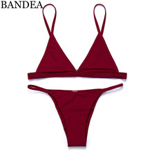 цена на BANDEA Bikini Set 2017 Classic style Women Sexy Swimwear Wine Red Bikini Brazilian Swimsuit Fashion Sexy Swimsuit Latest Color