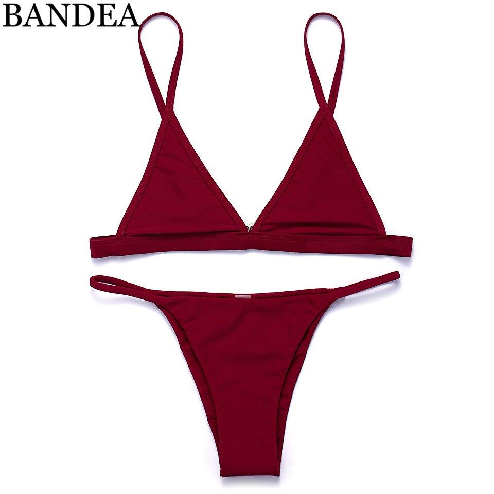 c2861d146 BANDEA Biquíni 2019 Sexy Biquíni Set Mulheres Swimwear Biquínis Maiô  Feminino Vermelho Micro Brasileiro Maiôs de Natação Terno Para As Mulheres
