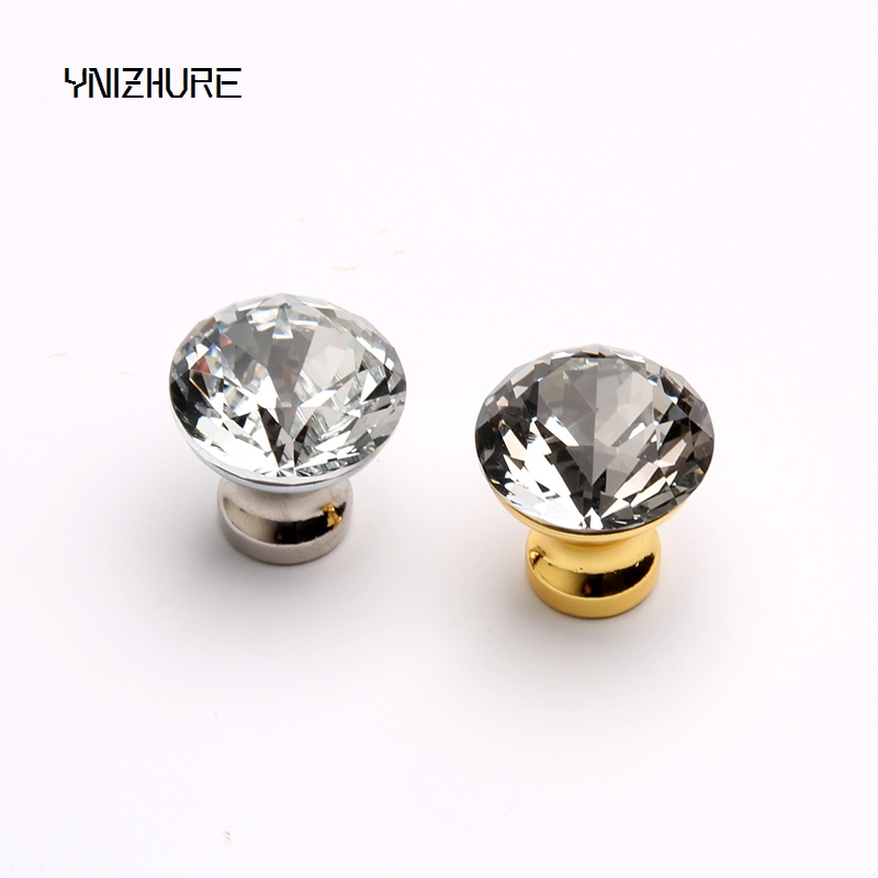 Kitchen Handles Top Quality 25mm 1pcs Door Knobs Crystal Diamond Glass Silver Drawer Cupboard Wardrobe Cabinet Furniture Handle