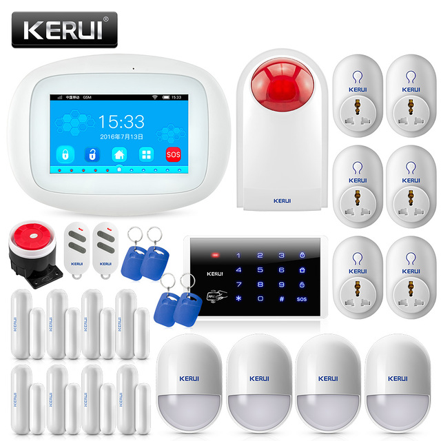 Best Price KERUI Smart Socket Home WIFI GSM Alarm System Security Alarm With 4.3 inch TFT Color Screen +110db Outdoor Water Proof Siren