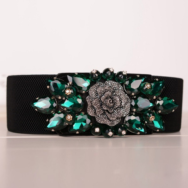 High Quality Spandex with Diamonds Bridal Belt Dark Green/Royal Blue/White for 65-100cm Waist Party Dress Sash In Stock