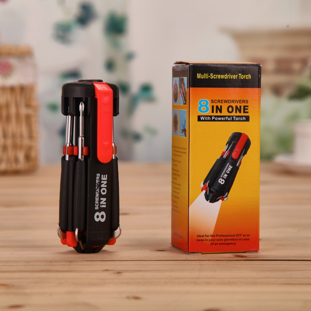 8 In 1 LED Lights Screwdriver Set Multi-functional Portable Type Combination Day and Night Used Hand Tool Kit