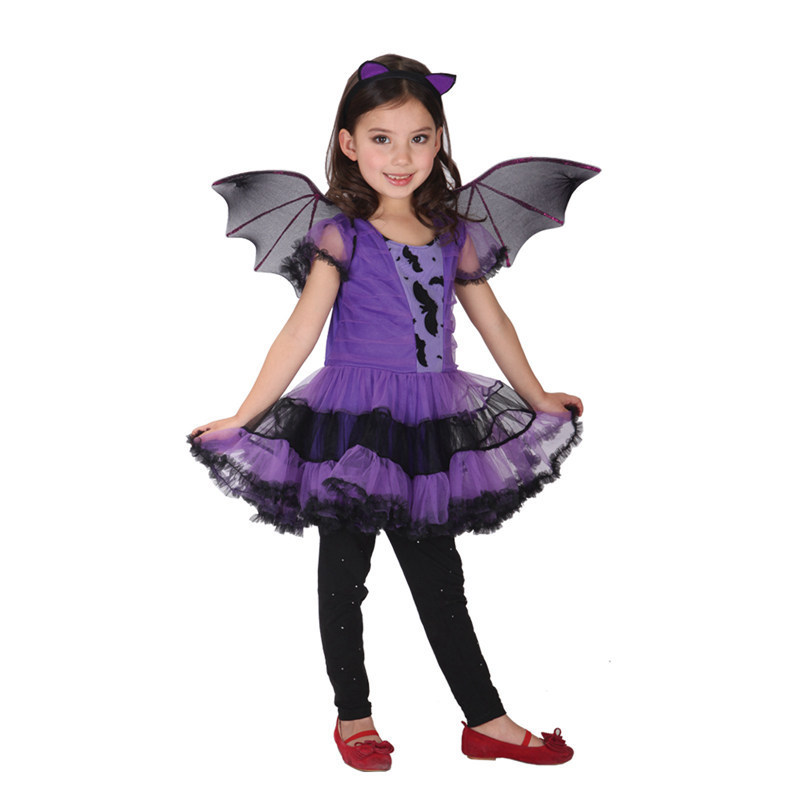 hot sale halloween costume for kids childrens performing clothing cos purple bat wings dress suit girls cosplay clothes yw007 in girls costumes from