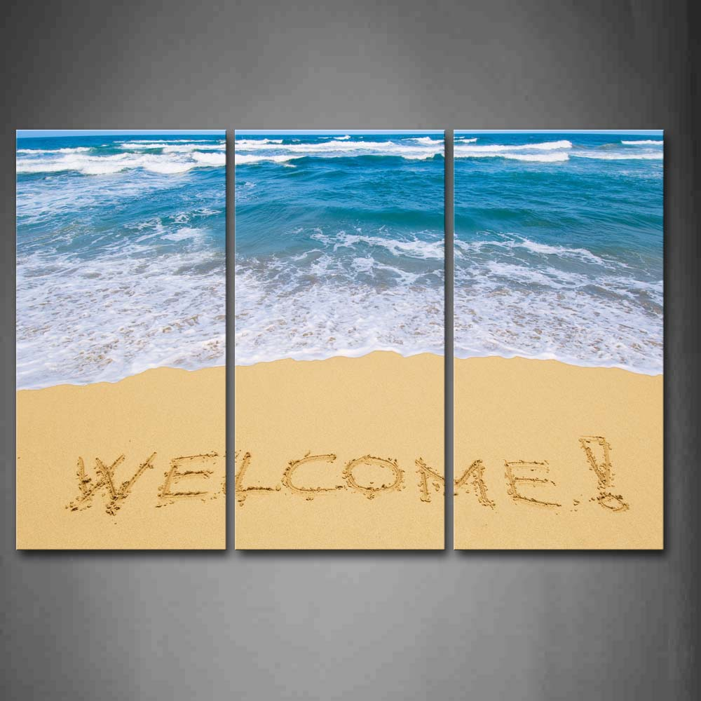Framed Wall Art Pictures Word Of Welcome Beach Canvas Print Seascape Poster With Wooden Frame For Home Living Room DecorFramed Wall Art Pictures Word Of Welcome Beach Canvas Print Seascape Poster With Wooden Frame For Home Living Room Decor