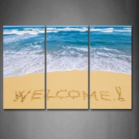 Framed Wall Art Pictures Word Of Welcome Beach Canvas Print Seascape Poster With Wooden Frame For Home Living Room Decor