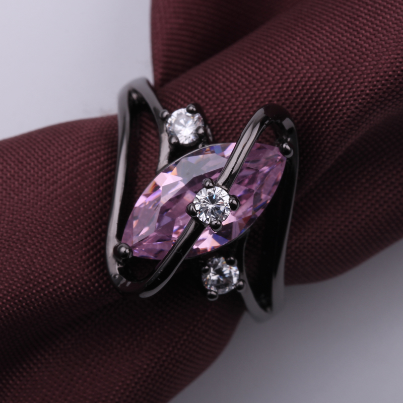 Gorgeous Blue Fire Opal Rings For Women Men Unique Geometric Design Black Gold Filled Wedding Party Engagement Promise Ring