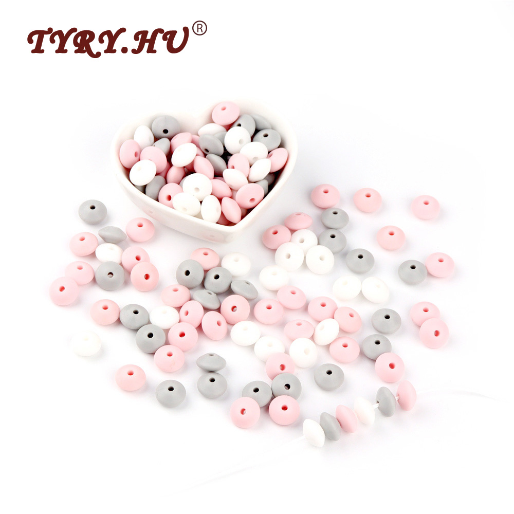 TYRY.HU 12mm Silicone Beads BPA Free Baby Teether 60Pcs Chewable Abacus Lentil Beads For Baby Nursing Necklace Making Light Gary
