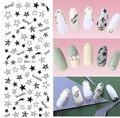 DIY Sexy Designer New Water Transfer Nails Art Sticker Star Bang Twinkle Black Nail Wraps Foil Sticker manicure stickers Decals