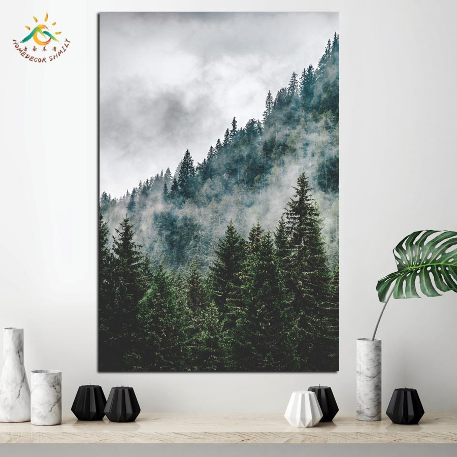 Природа Зеленый Пейзаж Стены Картина Поп-Арт Рамки Плакаты и Принты Холст Картины Nordic Украшения