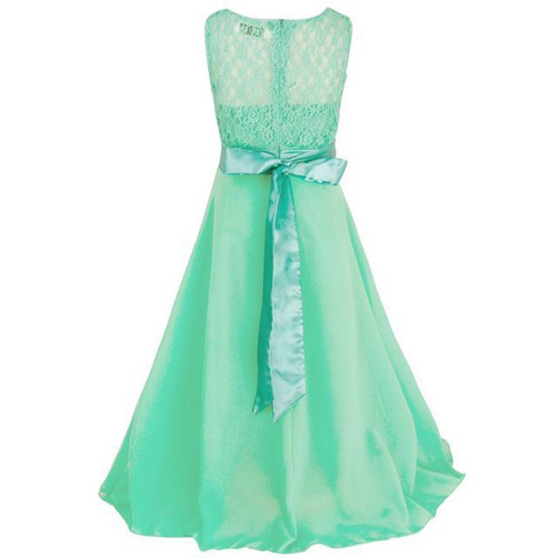 Summer Girls Dress Chiffon Sleeveless Infant Long Dress O Neck Girl Wedding Dresses Lace Kids Party Clothes Children Clothing (8)