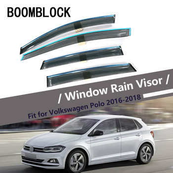 BOOMBLOCK Car Covers Window Visor Sun Rain Wind Deflector Awning Shield ABS For Volkswagen Polo VW Polo Hatchback 2011-2018 фото