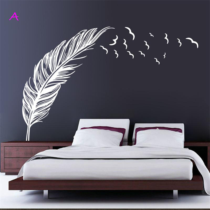 classic left right flying feather home decal wall sticker/wedding decoration gifts adesivo de parede HOT SALE