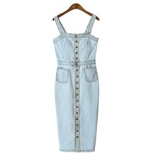 Summer Women Strap Denim Dress Vintage Blue Sarafan Jeans Overalls Sexy Sleeveless Single-breasted Bodycon