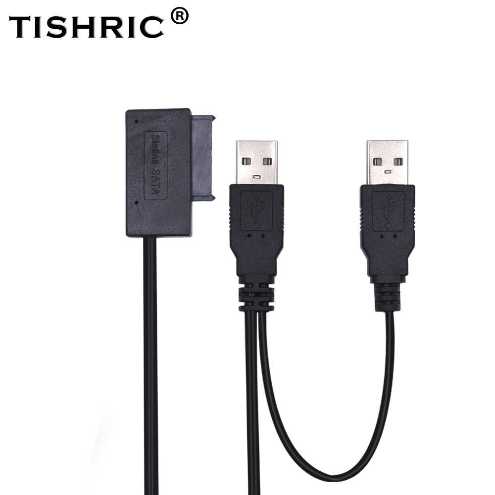 TISHRIC USB 2.0 zu 7 6 13Pin Slimline SATA Adapter Kabel Externe Power für Laptop Mini CD-ROM DVD-ROM Konverter