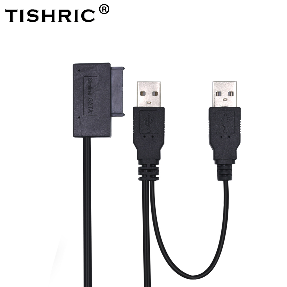 TISHRIC USB 2.0 zu <font><b>7</b></font> <font><b>6</b></font> <font><b>13Pin</b></font> Slimline SATA Adapter Kabel Externe Power für Laptop Mini CD-ROM DVD-ROM Konverter image