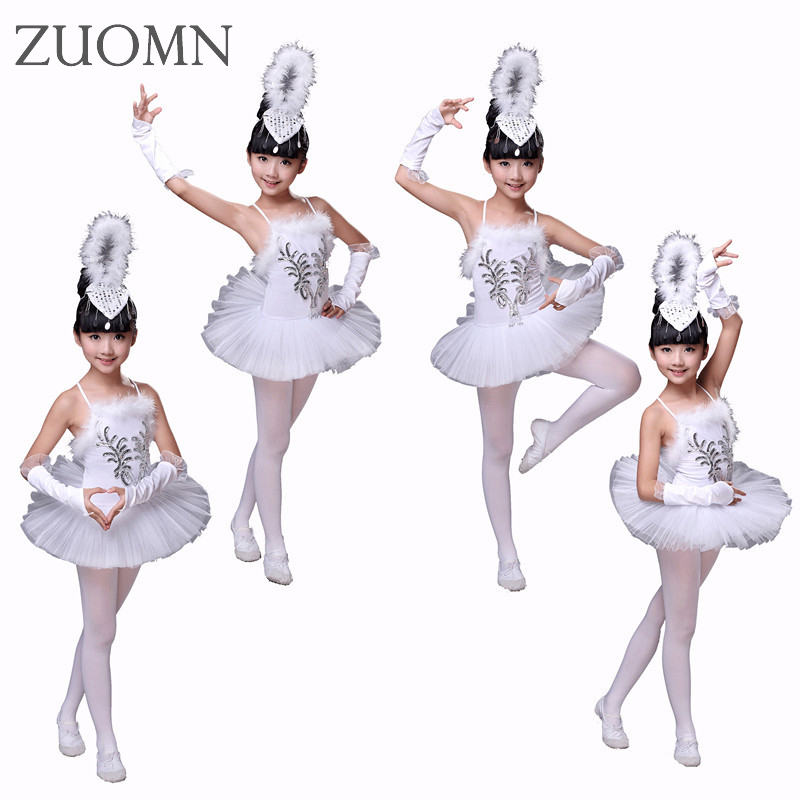 Girls White Swan Lake Ballet Costumes Children Girl Dance Clothing Kids Sequin Feather Ballet Dress Children Dance Wear YL361 christmas dress professional ballet tutu fashion dance dress performance wear costumes th1034c hair accessory clothes children