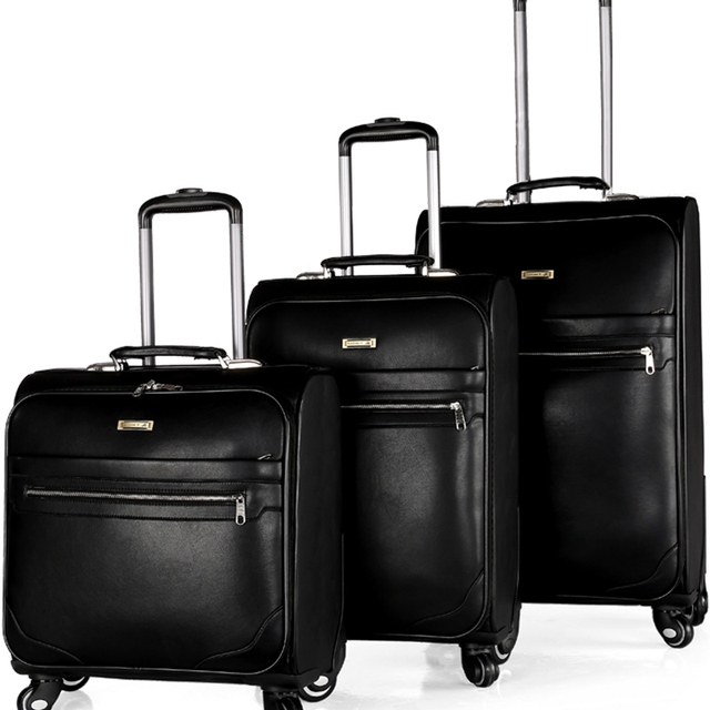 Newest Vintage trolley suitcase caster board chassis luggage lock leather travel box Business Men pu computer Luggages 16 20 24