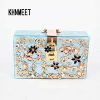 Blue Italy Brand Diamond Relief Acrylic Ballot Lock Evening Bag Luxury Women Handbag With Chain Clutch