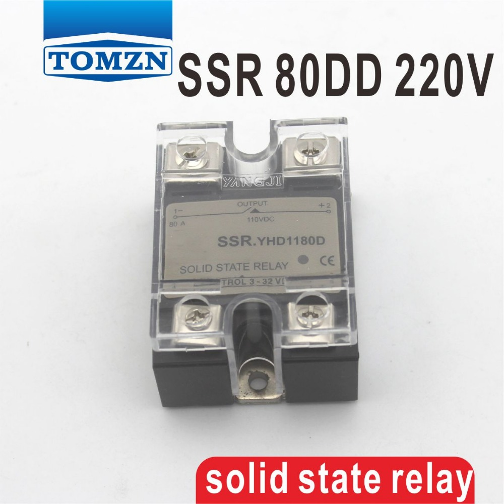 80DD SSR Control voltage 3~32VDC output 5~220VDC DC single phase DC solid state relay 80dd ssr control voltage 3 32vdc output 5 60vdc dc single phase dc solid state relay