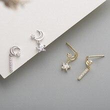 Flyleaf 925 Sterling Silver Earrings For Women Gold Star Moon Asymmetry Cubic Zirconia Simple Drop Earings Fashion Jewelry