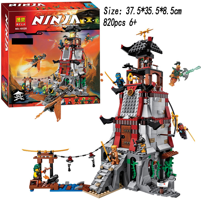 820pcs MAK LOK SI Ninjagoe Town Battle Castle Ninjagoes Bricks Toy Compatible Building Block Minifigure font