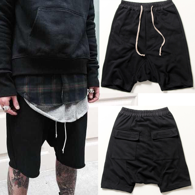 2017 New Black Shorts Kanye West Cool Sweatpants 30-40 Mens Jumpsuit HIPHOP Rock Stage Urban Clothing Owens Dress Harem