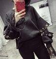 [XITAO] 2016 outono Coréia mulheres Frisado pesado rendas costura solta de manga comprida moletons feminino oco out manga comprida MC007