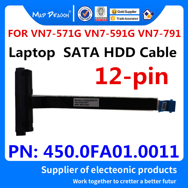 New Original Laptop SSD HDD Cable SATA HDD Hard Drive Cable Connector For Acer VN7-571G VN7-591G VN7-791 450.0FA01.0011  12 Pin