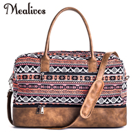 Mealivos 2017 Fashion Women Canvas Large Weekender Bag Overnight Travel Carry On Duffel With Shoe Pouch