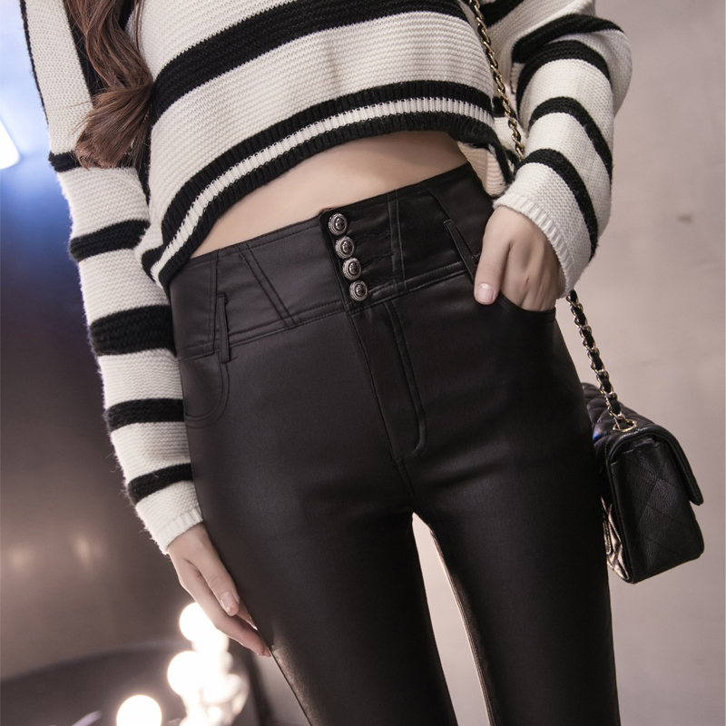 Plus size clothing plus velvet thickening mm high waist button all match elastic PU pants basic