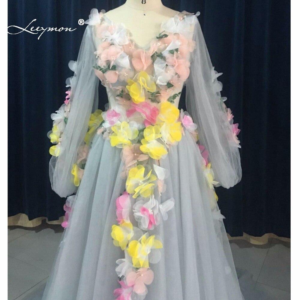 Leeymon Long Sleeves V Neck Flower Fairy Celebrity Dress Princess Grey Evening Dress Sheer Back LY7226