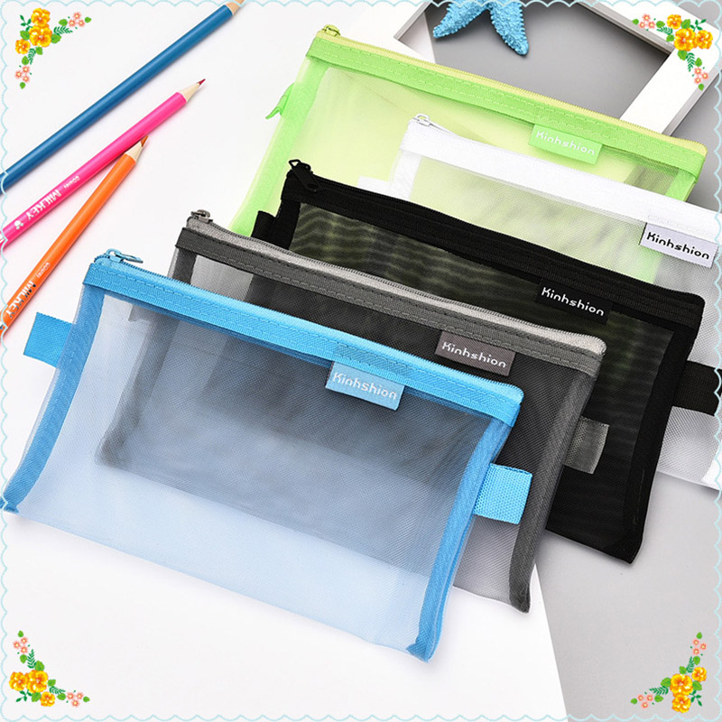 Pencil Bag Transparent Mesh School Pencil Case Large Capacity Nylon Pen Bag Case For Kids Gift Office Supplies Cute Stationery