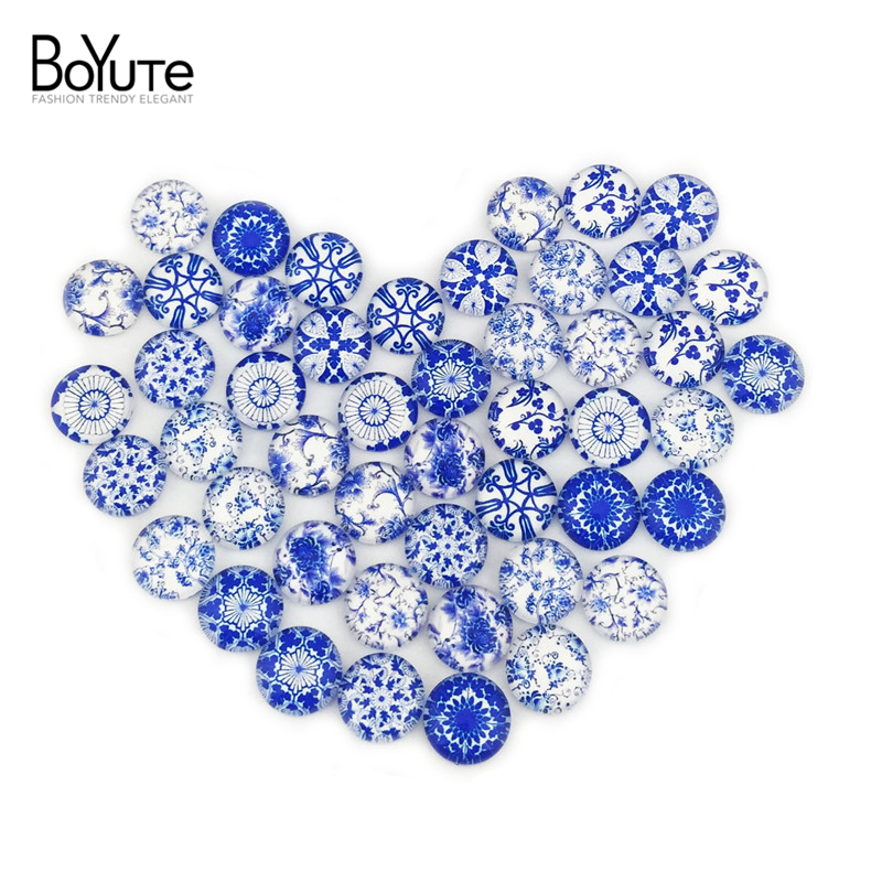 (48 pieces/lot) 12mm round pattern cabochons mix blue and white porcelain sign image glass cabochon for blank settings xl3305