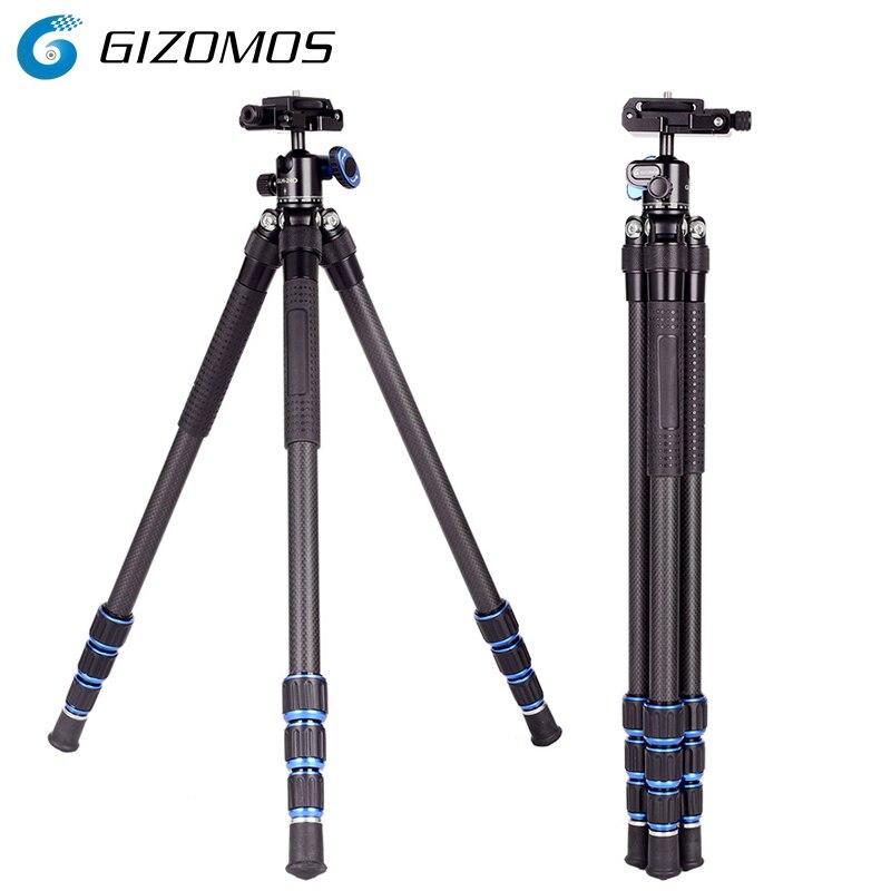 GIZOMOS C-20 trépied 2 en 1 et tête Mini trépied professionnel Flexible en Fiber de carbone trépied léger pour smartphones reflex numériques
