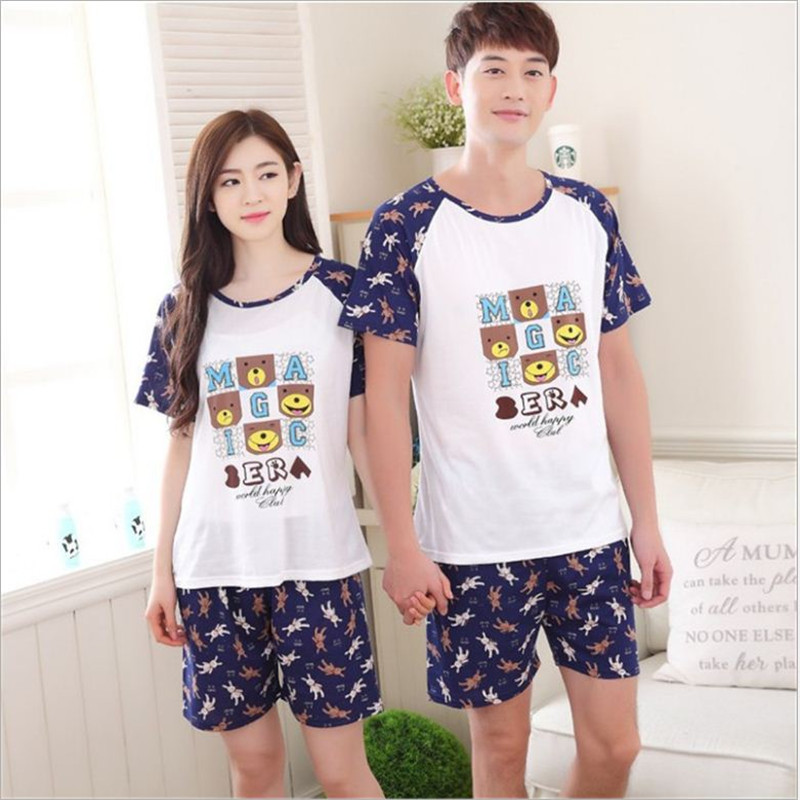 Summer Newest Men/Women fashion letters/animals printing Round Neck Short sleeved shorts Sleepwear Couple Leisure Pajamas stes