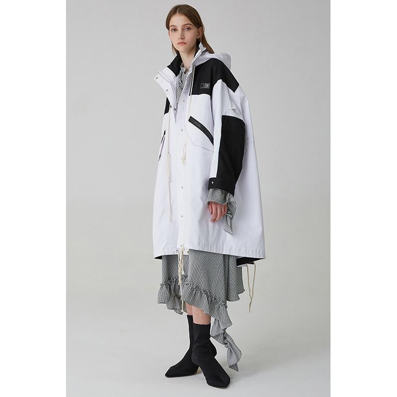Nouvelle Femmes Long Arrivée Capuche Oversize Blanc 2018 Et Patchwork Safari Avec Tranchée Noir Manteau qZAwRTrxq
