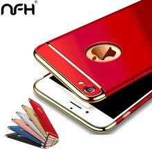 Корпус 3-в-1 Роскошная плакированная скраб простой защитный чехол для iPhone 5 5S, SE, 6, 6S Plus, 7 удобная задняя крышка красный