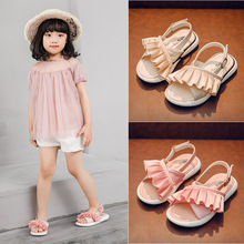 2019new Summer baby Girls sandals Casual soft bottom Kids Children Sandal little Girl princess shoes pink beige 3T 4T 5T 6T-16T