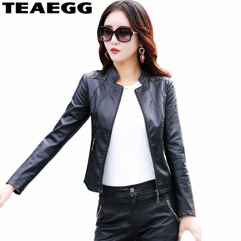 TEAEGG PU Black   Leather   Jacket Women Spring Autumn Jaquetas De Couro Feminina Faux   Leather   Coats Chaquetas Cuero Mujer AL932