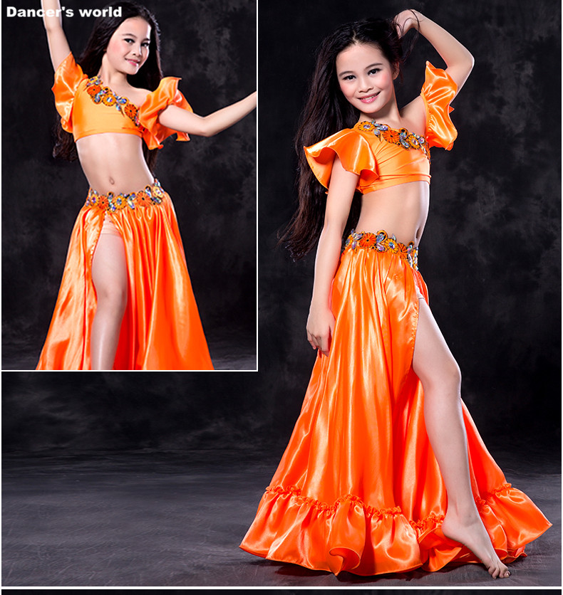 Kids Belly Dance Clothes Girls Performance Belly Dancing Clothing Luxury Sleeves Top+satin Skirt 2pcs Child Belly Dance Suit