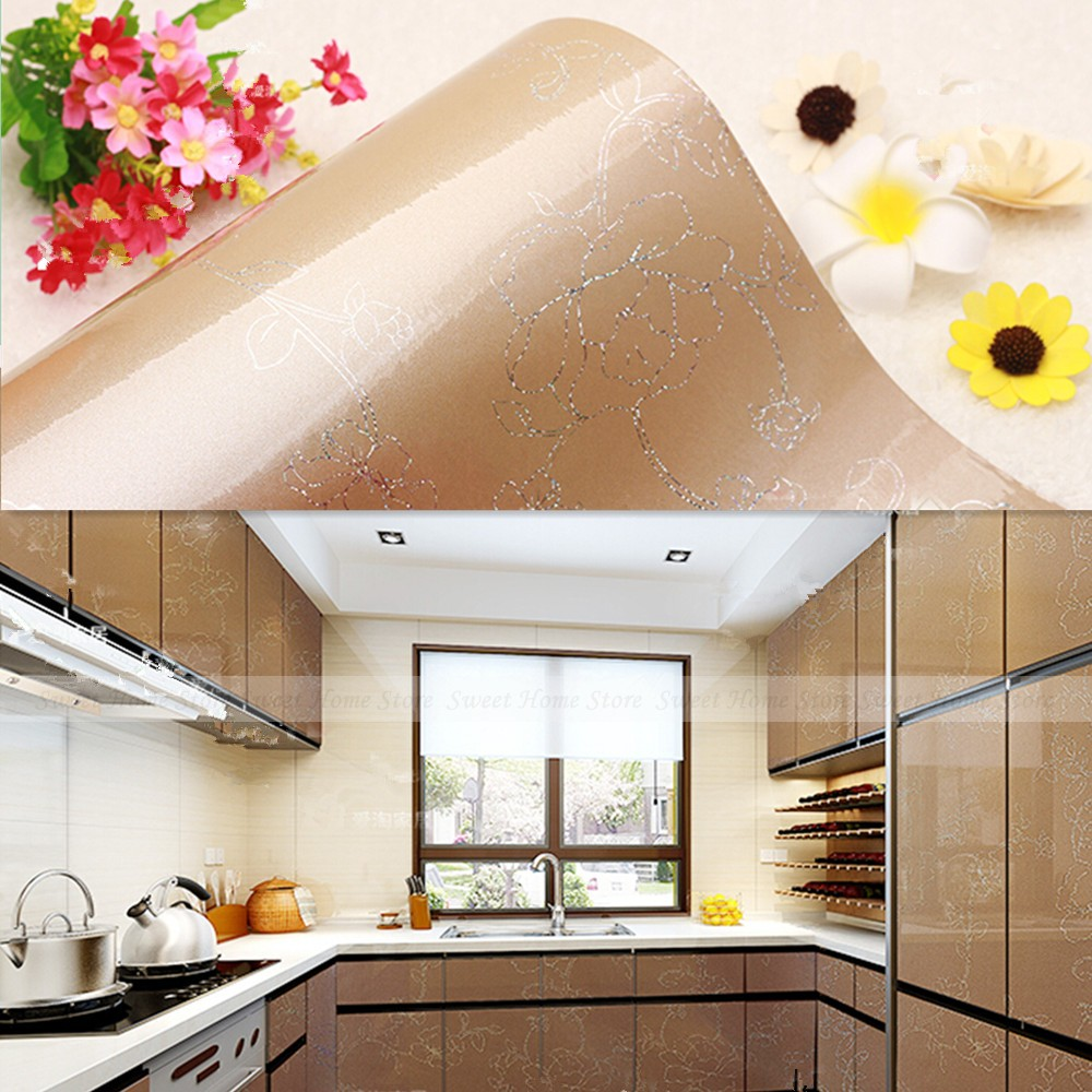 Buy yazi gloss champagne flower wallpaper for Kitchen doors south africa