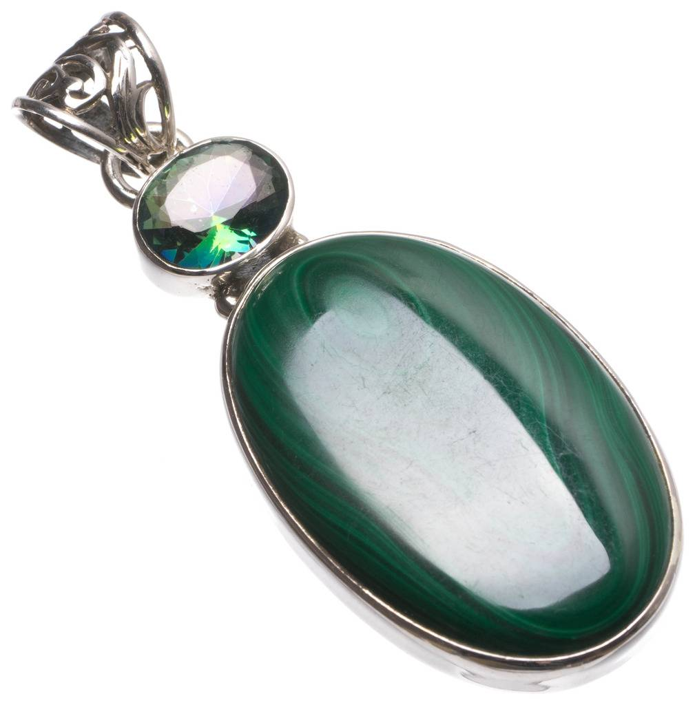 Natural Malachite and Rainbow Mystical Topaz Handmade Unique 925 Sterling Silver Pendant 2 1/4