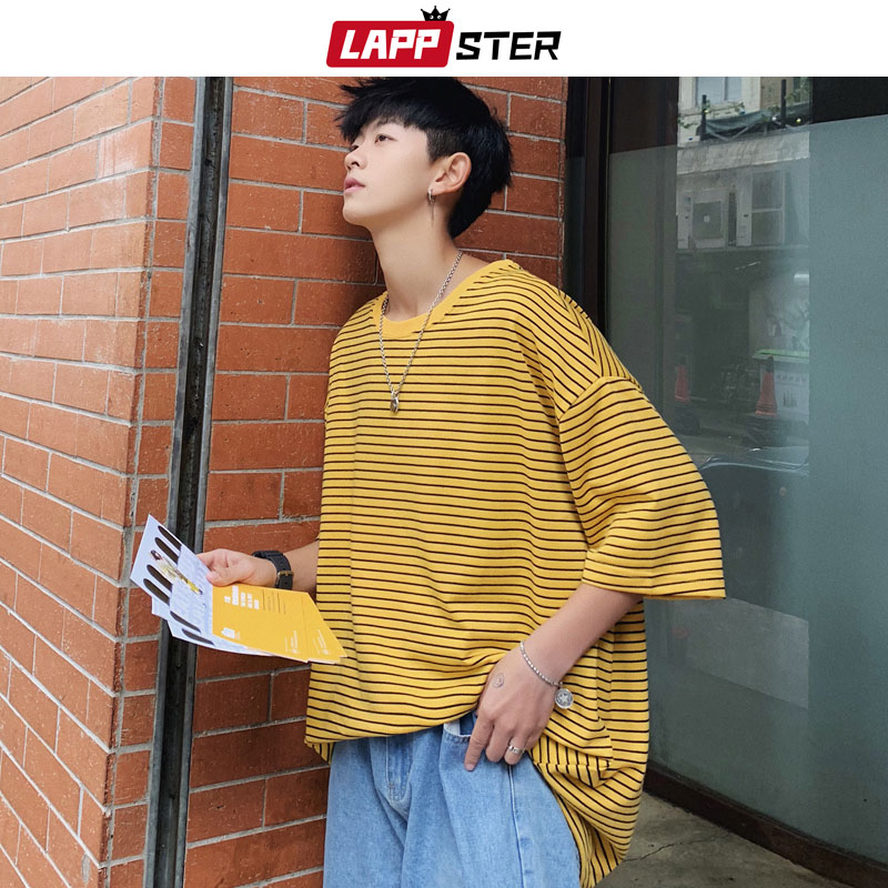 LAPPSTER Streetwear Men Striped   T     Shirt   Summer 2019 Mens Harajuku Korean Fashions Hip Hop   T  -  Shirt   Male Oversized Yellow Tshirt