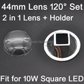 1 Set 44mm Optical Glass LED Lens 120 degree + Reflector Collimator 2 in 1 Kit for 10W Square High Power LEDs
